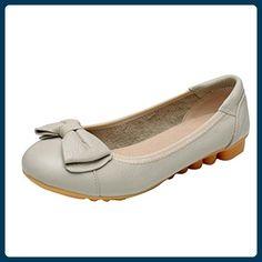 MatchLife Damen Vintage Leder Flach Pumpe Casual Schuhe Style8 Gelb EU34/CH35 - Ballerinas für frauen (*Partner-Link)