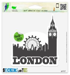 London Skyline England Travel Vinyl Car Bumper Window Sticker 5 x 4 >>> Check out this great product.Note:It is affiliate link to Amazon.