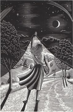 I like this idea of presenting diferent places, imagined places in drawings. Douglas Smith scratchboard art, born in NYC Art Scratchboard, Digital Art Illustration, Kratz Kunst, Scratch Art, Art Graphique, Day For Night, Night Owl, Art Design, Oeuvre D'art