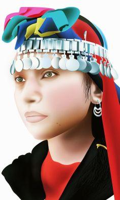 rostro mujer mapuche   illustration - digital art - muhart