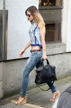 Impressive figure: The blonde star was on fine form as she emerged from her car in central London, where she wore a floral crop top in blue and white Katherine Kelly, Coronation Street, Floral Crop Tops, Quill, Cropped Skinny Jeans, Clothes Horse, Mail Online, Daily Mail, Spring Summer Fashion