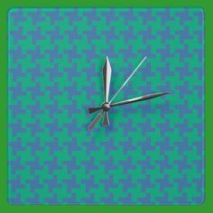 Wall Clock, Emerald and Blue Dogtooth Check