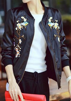 Black Flowers Pattern Collarless Zipper Streetwear Polyester Coat