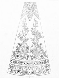 New model top 5 patterns for hand emroidery and machine embroidery lehenga design pencil sketch on tracing paper.fashions designer lehenga pattern sketch on paper Saree Embroidery Design, Border Embroidery Designs, Hand Embroidery Dress, Floral Embroidery Patterns, Embroidery Art, Machine Embroidery, Textile Pattern Design, Textile Patterns, Lehenga Pattern