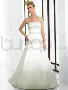 A-Line Satin Embroidered Bodice Soft Sweetheart Neckline Chapel Train Wedding Dress (J6120)