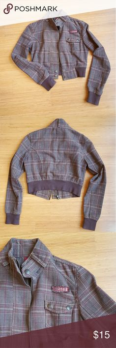 Adorable Plaid Crop Jacket Brown and burgundy plaid cropped bomber. Zipper and brass buttons. 1 buttoned breast pocket SO Jackets & Coats