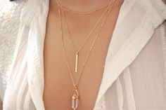 Layered Necklace - Gold Bar Necklace - Dainty Beaded Satellite Chain - Crystal Quartz Necklace - 14k gold filled $68