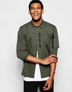 ASOS Military Shirt With Shacket Styling With Zip Detail In Khaki