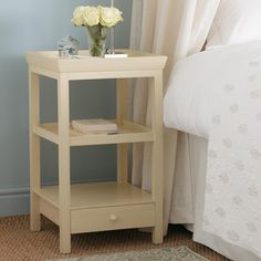 Save 31% on our Beauvais Bedside Table. This three-tiered bedside table, finished to a delicate Buttermilk hue, is both pretty and practical with its lipped top. #oka #offer #bedside #table