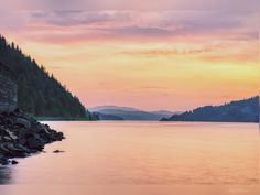 Coeur D'alene, Idaho, Diamonds, Mountains, Sunset, Night, Water, Travel, Gripe Water