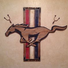 """FORD Mustang pallet wood sign, measures 42"""" tall x 47"""" wide."""
