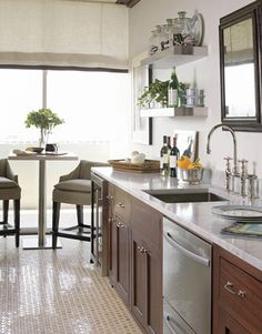 Phoebe Howard - kitchens - Farrow and Ball - Shaded White - cherry cabinets, cherry kitchen cabinets, Galley kitchen! Cherry Kitchen, New Kitchen, Kitchen Decor, Kitchen Grey, Kitchen Plants, Kitchen Ideas, Kitchen Flooring, Kitchen Cabinets, Metal Cabinets