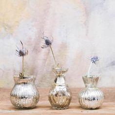 Petit vase (set de 3) verre mercurisé couleur argent Ulu Nkuku : Decoclico