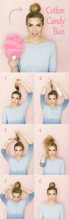 cotton candy bun   easy tutorial   fun office #hairstyles