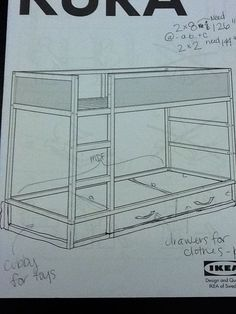 Actual plans/measurements for drawers under Kura bed