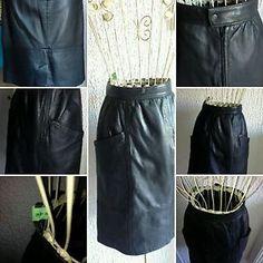 Damen-Rock-true-vintage-mid-century-leather-straight-skirt-biker-Hipster-black