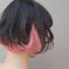 うっすらピンクとちょい濃いめのダブルチョイス❤ あ~おいしそ hairstyle #fashion #pink #color #インナーカラー #ピンク #ボブ #girly #cute #郡山 #白河 #会津 #美容室 #郡山美容室 #di_ka #momo