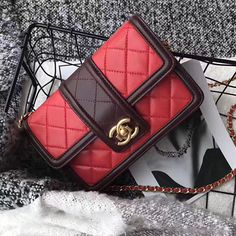 Chanel Lambskin Small Chain Wallet Red A91365