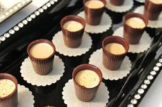 """chocolate """"cups"""" filled with irish cream liqueur shots"""