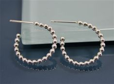 3/4 Sterling Silver Ball Wire Open Back Hoops by tinysparklestudio