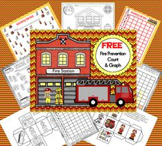 Free fire safety theme graphing in color and black and white (different versions) Pre-K thru Gr 1, on Teachers Pay Teachers