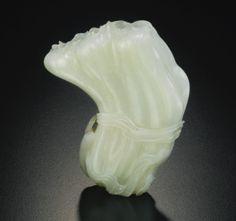 清十八世紀 青白玉荷葉式花插