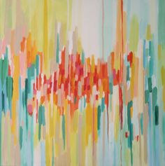 Flicker & Burn  Abstract Painting by pippinandpearl on Etsy, $300.00 Lake, Lemon, Turquoise, Wheat, Tangerine, Coral, White, Poppy