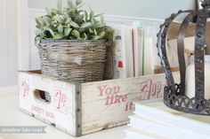 ** books & plant in a crate ** Farm Chicks VintageTreasures found at the 2014 Farm Chicks Show in Spokane, WA