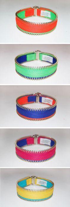 Handmade zipper bracelet neon. $15.90, via Etsy.