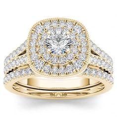 De Couer 14k Yellow Gold 3/4ct TDW Diamond Double Halo Bridal Ring Set   Overstock.com Shopping - The Best Deals on Bridal Sets