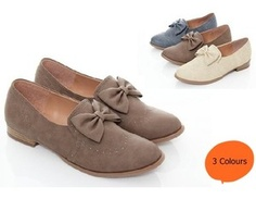 i dig these. [BN Women's Bowed Boyfriend Oxford Flats Boots Dress Shoes Beige Cocoa Blue]