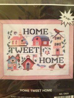 Home Tweet Home Counted Cross Stitch Sampler Kit Birds Birdhouses Willmaur Craft #WillmaurCrafts