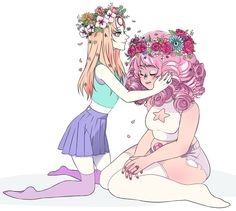 Reversed Hair Lengths ||| Pearl and Rose ||| Steven Universe Fan Art by poljakovart on Tumblr
