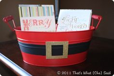 DIY Santa Bin: attach tag & use to give gifts/cookies or as holiday card holder