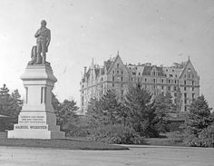 Perhaps the earliest known image of the Dakota, while still under construction. The Central Park statue of Daniel Webster, in bronze on a granite pedestal, was sculpted by Thomas Ball and erected in 1876, only four years before work on the Dakota was begun.