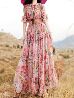 Pink Floral Off Shoulder Layer Ruffle Sleeve Pleat Maxi Dress | Choies