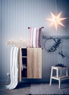 IKEA - STRÅLA, Pendant lamp shade, striped grey, Combine with a cord set and hang the shade from the ceiling as a pendant, for example over a table or in a window. Ikea Christmas, Christmas Love, Christmas 2019, Inspiration Ikea, H&m Home, Modern Art Prints, Slow Living, Winter House, Find Furniture