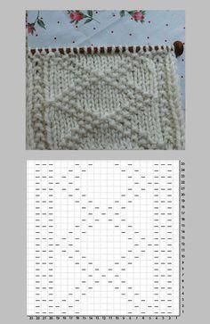 ガンジー模様 表目と裏目で作るダイヤ柄の編み図と編み上がり作品