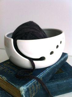 Pure White Ceramic Wheel Thrown Yarn Bowl Made To Order | Etsy Knitting Projects, Crochet Projects, Yarn Bowl, Stoneware Clay, Pure White, White Porcelain, Ceramic Art, Dog Bowls, White Ceramics