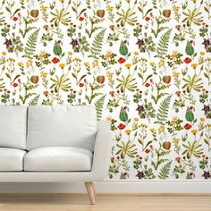 Commercial Grade Wallpaper 27ft x 2ft - Vintage Botanical Wildflowers Botanicals Natural Traditional Wallpaper by Spoonflower