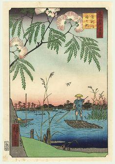 Japanese Woodblock Print The Ayase River , Hiroshige