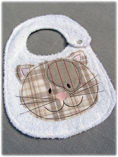 embroidered baby bib cat by cucicreando on Etsy