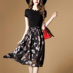 New Fashion Printed Chiffon Long Dress Women Casual Clothing – Ozzy Bella All Great Apparel