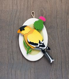 Paper Cut-Out Illustrative Bird on Wooden Plaque - American Goldfinch Wall Art - Paper-Craft - Ornamental - Handmade - Small Gift