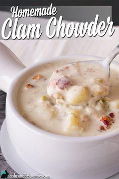 Homemade Clam Chowder from dishesanddustbunnies.com