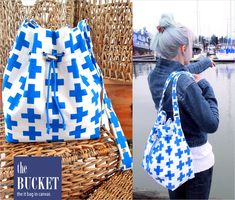 Canvas Bucket Bag with Cinched Top and Two-Piece Snap Strap | Sew4Home