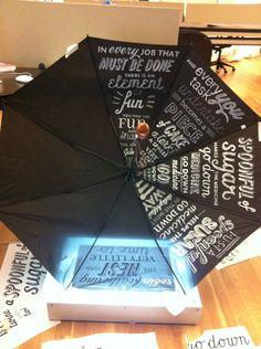 Custom Umbrella. I LOVE THIS IDEA if I could do it....