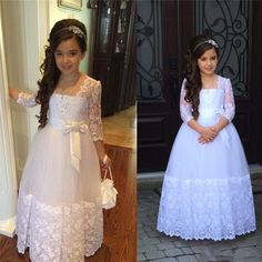Cheap girls dress, Buy Quality girl dresses for weddings directly from China girls dresses for Suppliers: Stunning Long Sleeves Flower Girls Dresses For Weddings Appliques Lace Tulle Ankle Length First Communion Dresses Custom