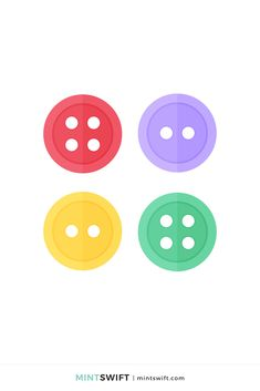 366 Days of Illustration Challenge - Day 262 - MintSwift | One year of vector illustrations challenge. Flat design vector illustration of four sewing buttons. View more at mintswift.com #mintswift by Adrianna Leszczynska #illustration #illustrationchallenge #flatillustration #vectorart #illustrator #flatdesign #vectorillustration #digitalillustration #mintswiftportfolio #mintswiftillustrations #366daysofillustrationchallenge Web Design Packages, Crayon Set, Flat Design Illustration, Print Design, Graphic Design, Business Checks, Vector Illustrations, Sewing A Button, New Kids