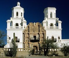 """White Dove of the Desert"" cathedral built in the 1700s in Santa Cruz.  Note the Moorish influences"
